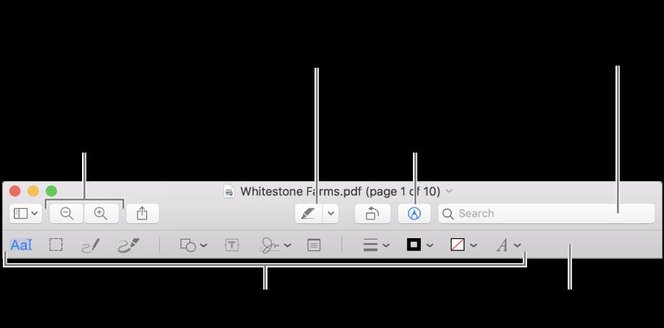 Barre d'outils de balisage pour annoter un PDF.