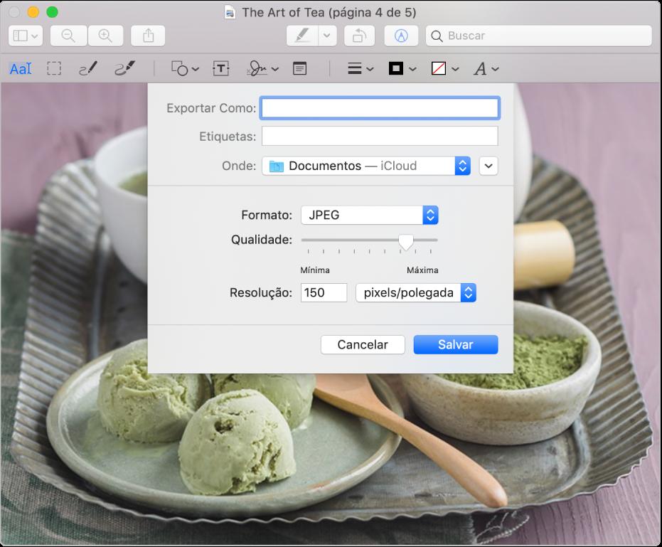 Opções de exportação na Pré‑Visualização.