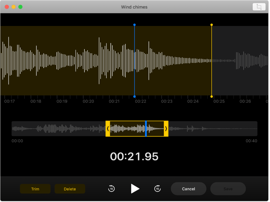A voice memo being edited in the Voice Memos window.