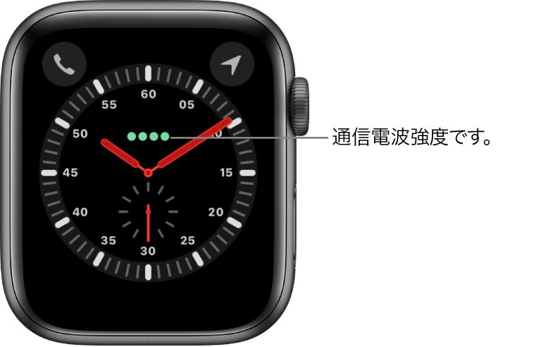 「エクスプローラー」の文字盤はアナログ時計です。文字盤の中央よりも少し上には、モバイル通信の信号強度を示す緑色の 4 つの点があります。