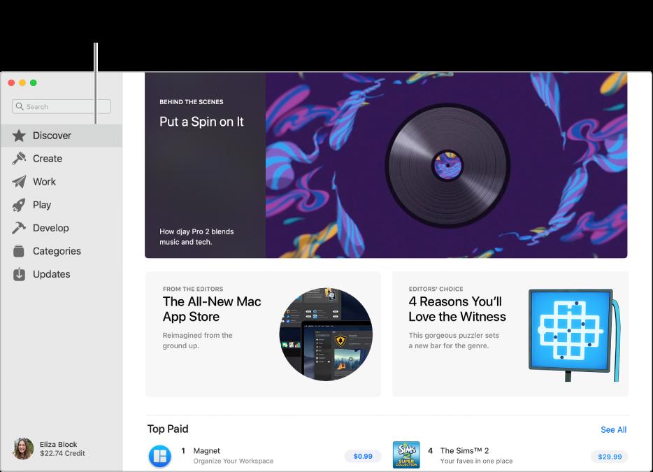Ana Mac App Store sayfası. Sol taraftaki kenar çubuğu diğer sayfalara bağlantıları içerir: Keşfet, Yarat, Çalış, Oyna, Geliştir, Kategoriler ve Güncellemeler. Sağ taraftakiler, arasında Sahne Arkası, Editörlerden ve Editörlerin Tercihi olmak üzere tıklanabilir alanlardır.