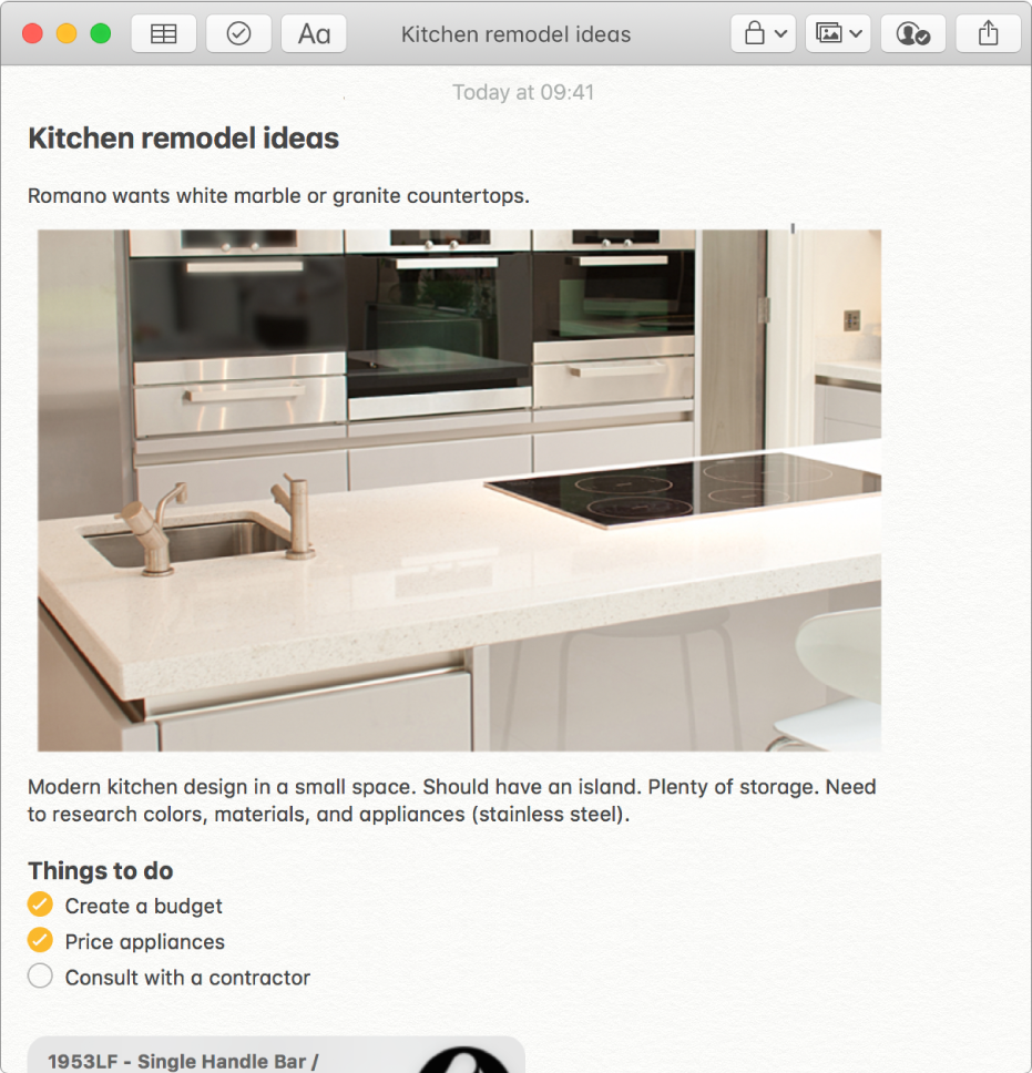 A note that includes a photo of a kitchen, a description of kitchen remodel ideas and a checklist of things to do.