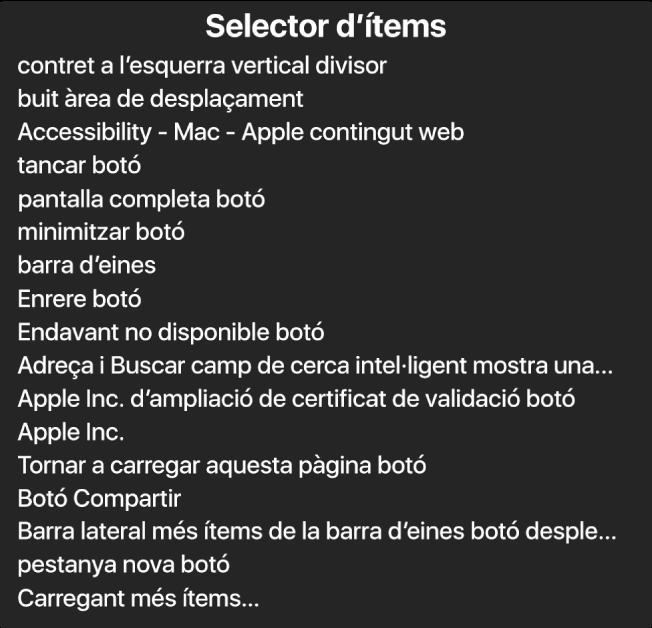 El selector d'ítems és un tauler que mostra una llista d'ítems com ara una àrea de desplaçament buida, el botó per tancar, una barra d'eines i el botó Compartir, entre d'altres.