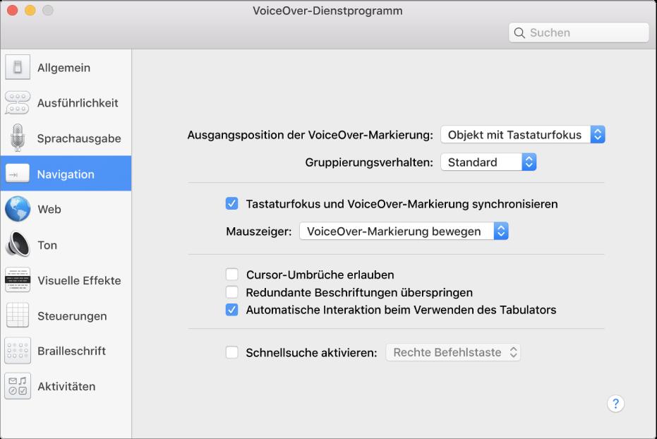 """Das Fenster des VoiceOver-Dienstprogramms mit ausgewählter Kategorie """"Navigation"""" in der Seitenleiste links und den zugehörigen Optionen rechts. Unten rechts im Fenster ist die Hilfetaste, mit der die Hilfethemen der VoiceOver Online-Hilfe mit einer Erklärung für die Optionen angezeigt werden können."""