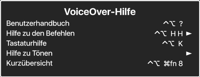 Das VoiceOver-Hilfemenü ist ein Panel, in dem Folgendes von oben nach unten aufgelistet wird: Online-Hilfe, Hilfe zu Befehlen, Tastaturhilfe, Hilfe zu Tönen, Kurzübersicht und Einführungshandbuch. Rechts neben jedem Objekt befindet sich der VoiceOver-Befehl, der das Objekt anzeigt, bzw. ein Pfeil, der zu einem Untermenü führt.