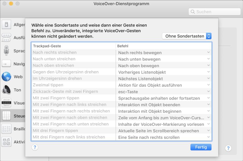 Eine Liste von VoiceOver-Gesten und entsprechenden Befehlen in der Trackpad-Steuerung im VoiceOver-Dienstprogramm