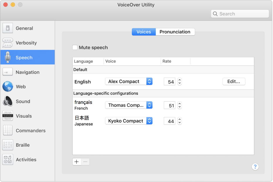 The VoiceOver Utility Voices pane showing voice settings for English, French, and Japanese languages.