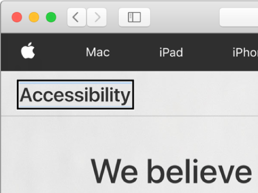 "The VoiceOver cursor — a dark rectangular outline — focused on the word ""Accessibility"" on screen."