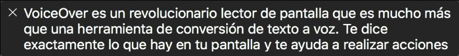 El panel de subtítulos muestra lo que VoiceOver está leyendo.