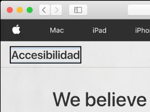 """El cursor de VoiceOver (un borde rectangular oscuro) centrado en la palabra """"Accesibilidad"""" de la pantalla."""