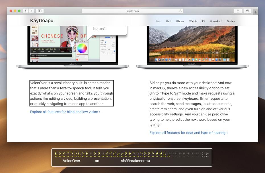 Pistekirjoistuspaneelissa näkyy, mitä VoiceOver-osoittimessa on verkkosivulla. Pistekirjoistuspaneelissa näkyy simuloituja keltaisia pistekirjoituspisteitä ja pisteiden alla näkyy vastaava teksti.