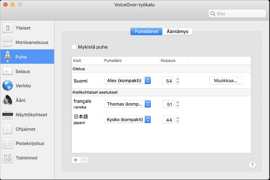 VoiceOver-työkalun Puheäänet-osio, jossa on englannin, ranskan ja japanin puheääniasetukset.