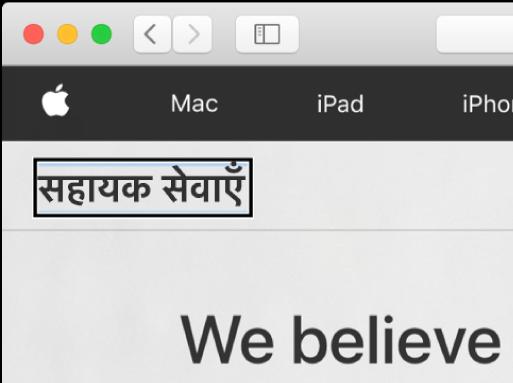 """VoiceOver कर्सर—काली आयताकार बाह्यरेखा—स्क्रीन पर """"Accessibility"""" शब्द पर केंद्रित है।"""