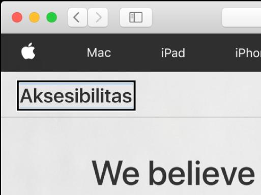 """Kursor VoiceOver—kerangka persegi panjang gelap—berfokus pada kata """"Aksesibilitas"""" di layar."""
