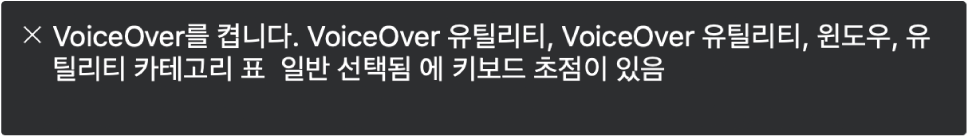 VoiceOver가 현재 말하고 있는 항목이 표시되어 있는 자막 패널입니다.