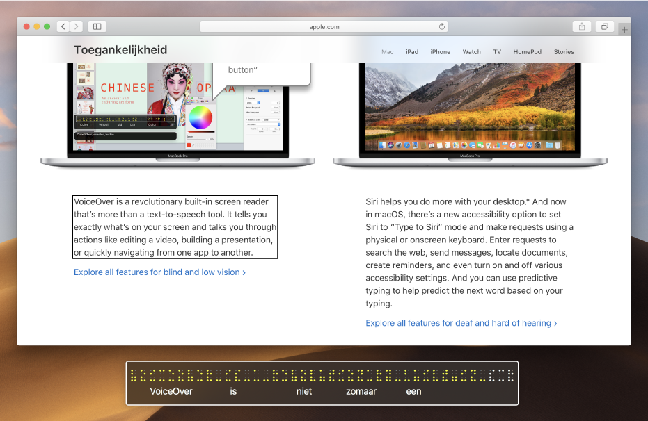 Het braillepaneel met daarin de tekst die in de VoiceOver-cursor op een webpagina te zien is. In het braillepaneel worden gesimuleerde, gele braillepunten weergegeven met daaronder de overeenkomstige tekst.