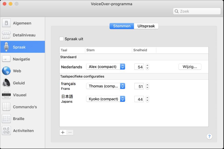 In het paneel 'Stemmen' van VoiceOver-programma zie je steminstellingen voor Engels, Frans en Japans.