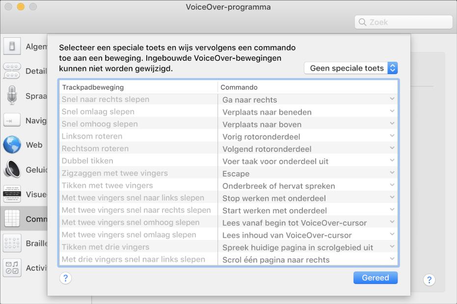 Een lijst met VoiceOver-bewegingen en bijbehorende commando's in het overzicht met trackpadcommando's van VoiceOver-programma.