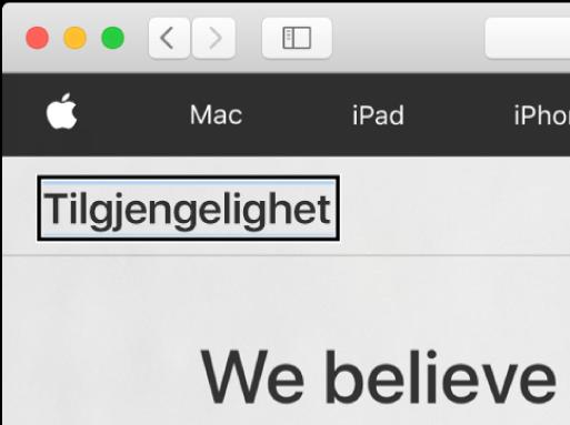 VoiceOver-markøren, et mørkt rektangel, fokusert på ordet «Tilgjengelighet» på skjermen.
