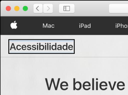 """O cursor do VoiceOver, um contorno retangular escuro, com foco na palavra """"Acessibilidade"""" no ecrã."""