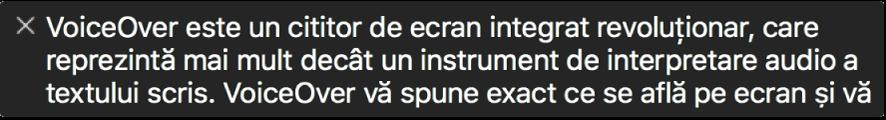 Panoul pentru subtitrare afișează ce anume enunță VoiceOver în momentul respectiv.