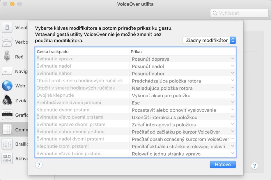 Zoznam gest utility VoiceOver azodpovedajúce príkazy zobrazené vaplikácii Trackpad Commander vutilite VoiceOver.