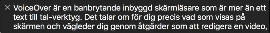 På textpanelen visas det som VoiceOver läser upp för tillfället.