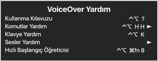 VoiceOver Yardım menüsü, yukarıdan aşağıya şunları listeleyen bir paneldir: Çevrimiçi Yardım, Komutlar Yardım, Klavye Yardım, Sesler Yardım, Hızlı Başlangıç Öğreticisi ve Başlangıç Kılavuzu. Her öğenin sağ tarafında, öğeyi görüntüleyen VoiceOver komutu veya alt menüye erişmek için bir ok bulunur.