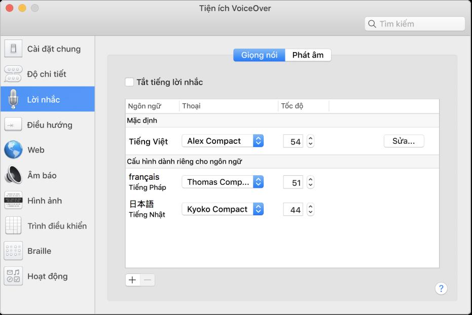 Khung Giọng nói của Tiện ích VoiceOver đang hiển thị cài đặt giọng nói cho các ngôn ngữ tiếng Anh, tiếng Pháp và tiếng Nhật.