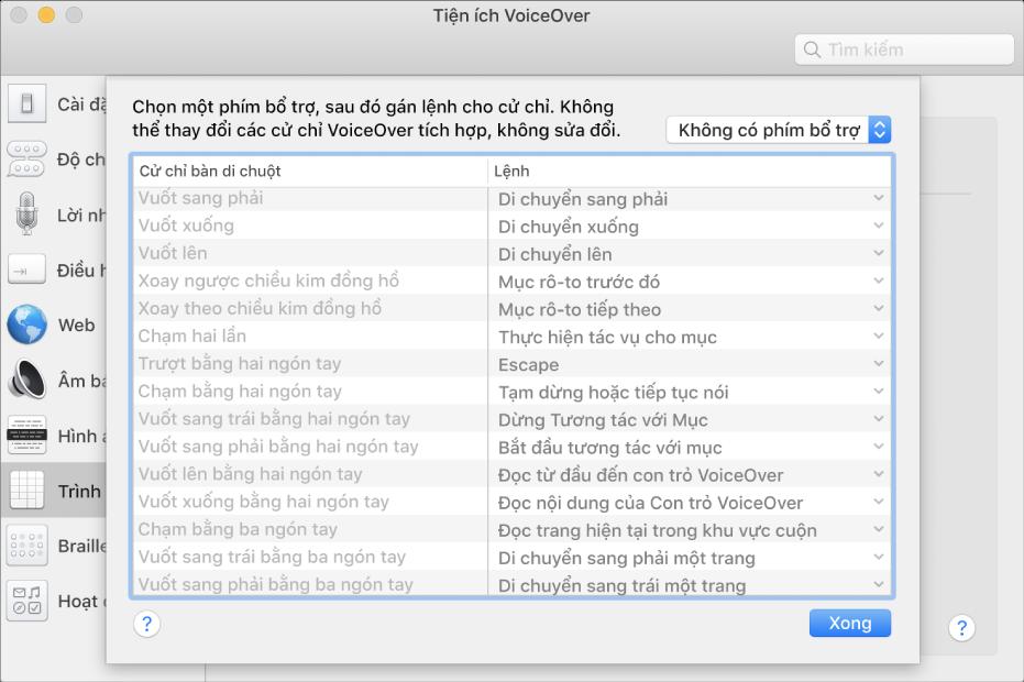 Danh sách các cử chỉ VoiceOver và các lệnh tương ứng được hiển thị trong Trình điều khiển bàn di chuột trong Tiện ích VoiceOver.