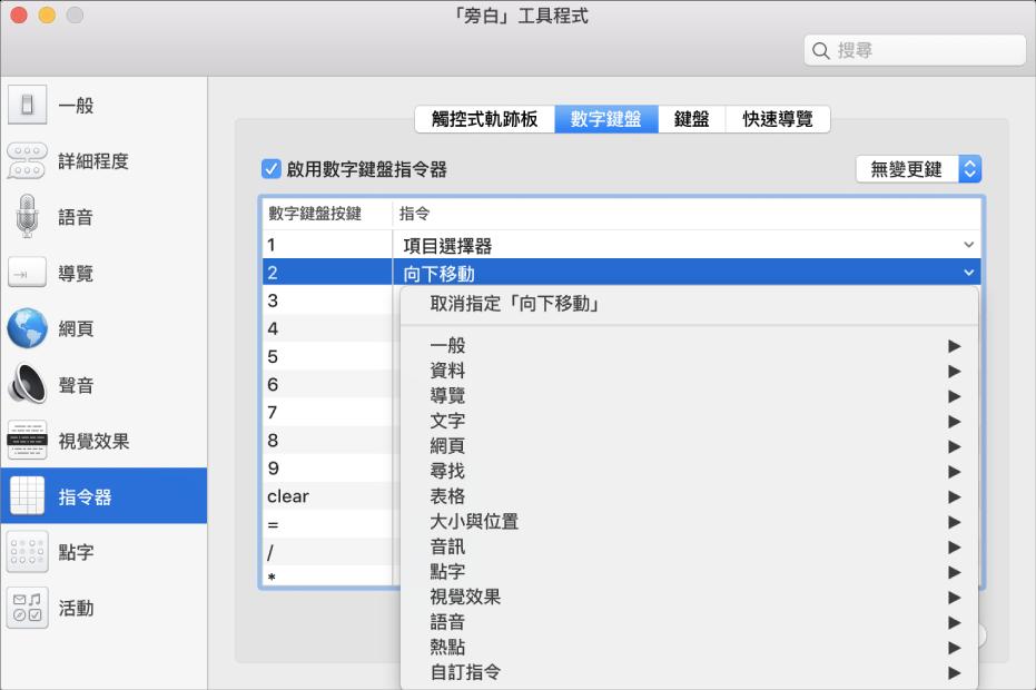 「旁白工具程式」視窗,在側邊欄中顯示所選的「指令器」類別,右側則為所選的「數字鍵盤」面板。在「數字鍵盤」面板的上方,「啟用數字鍵盤指令器」剔取框已被剔選。未從「變更鍵」彈出式選單中選取任何「變更鍵」。在剔取框和彈出式選單下方是一個包含兩個直欄的表格:「數字鍵盤鍵」和「指令」。已選取第二列,且在數字鍵盤按鍵欄包含「2」,而「指令」直欄中是「向下移動」。「向下移動」下方的彈出式選單顯示指令類別(如「一般」);每個類別都有一個箭嘴來顯示指令,可被指定給目前「數字鍵盤」鍵。