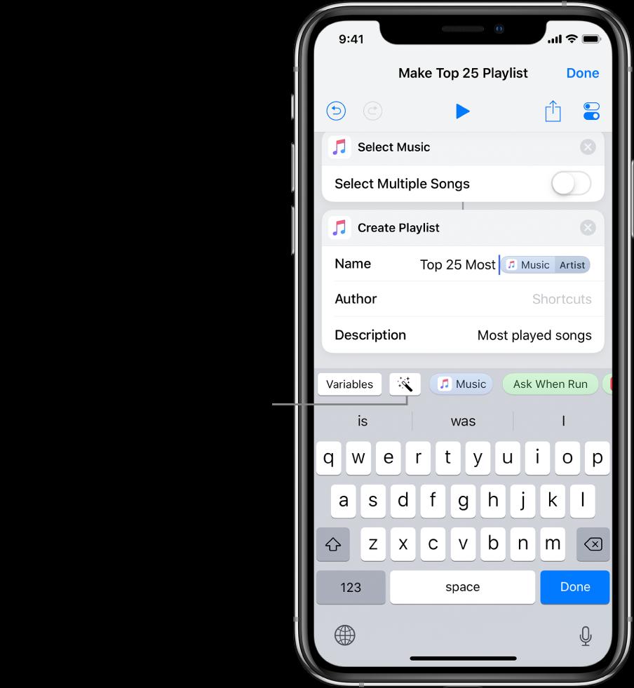 """شاشة اختصار """"إنشاء قائمة تشغيل بأفضل ٢٥"""" تعرض زر المتغيرات وزر متغير Magic فوق لوحة مفاتيح iOS."""