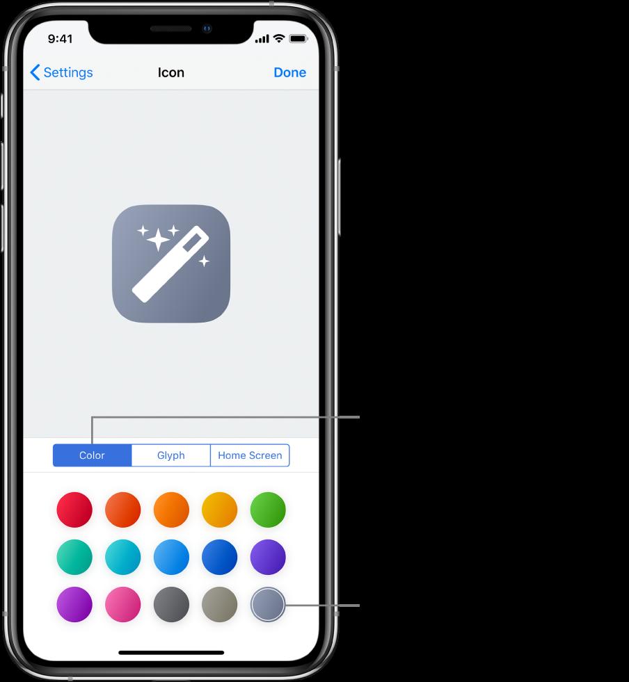 La pantalla Icona amb les opcions de color per a les dreceres.