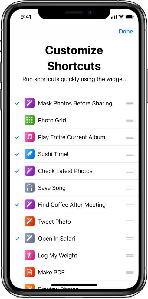 Manage Shortcuts screen.