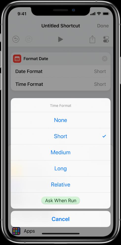 Time Format options dialogue.