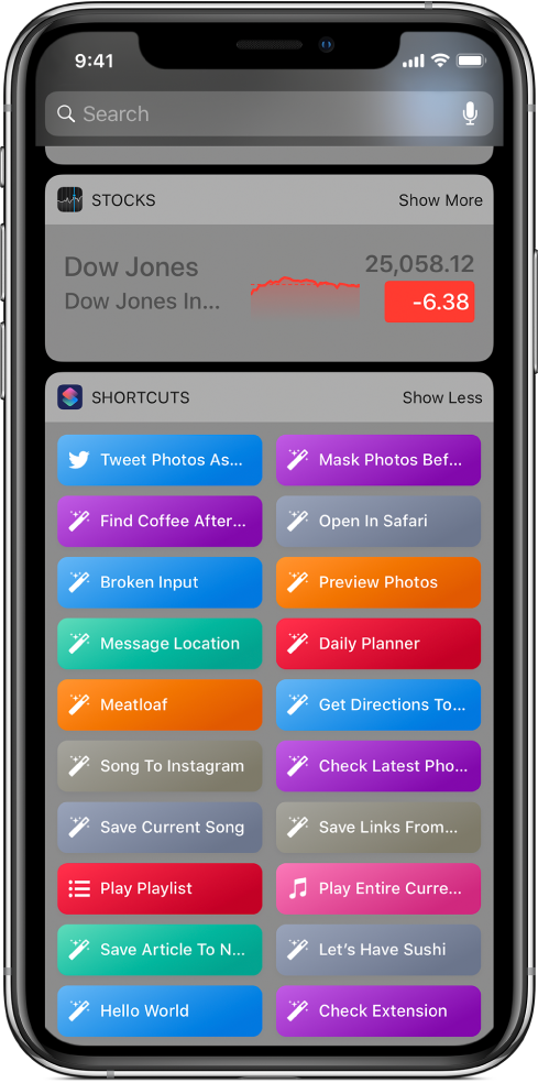 Shortcut widget in Today View on iPhone.