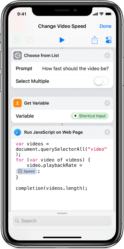 The shortcut editor showing a Run JavaScript on Web Page action containing a Magic Variable.