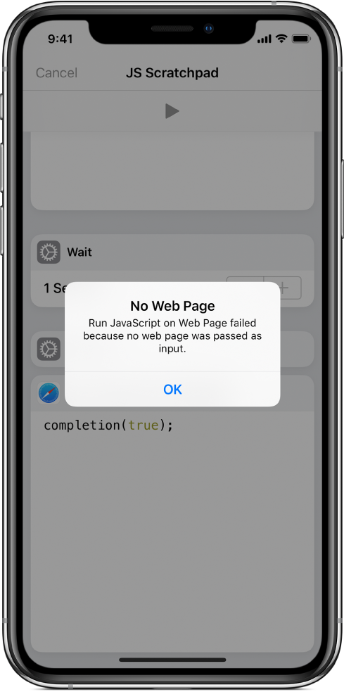 The shortcut editor showing a No Web Page error message.