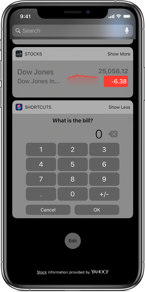 Number pad in the Shortcut widget in Today View.