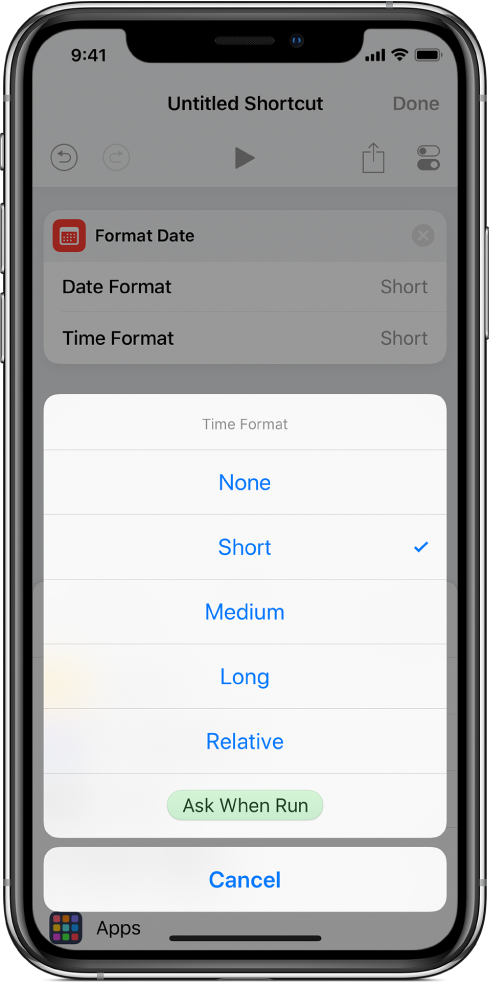 Time Format options dialog.