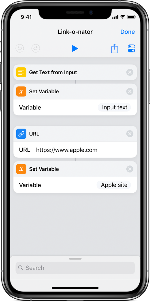 Set Variable actions in shortcut editor.