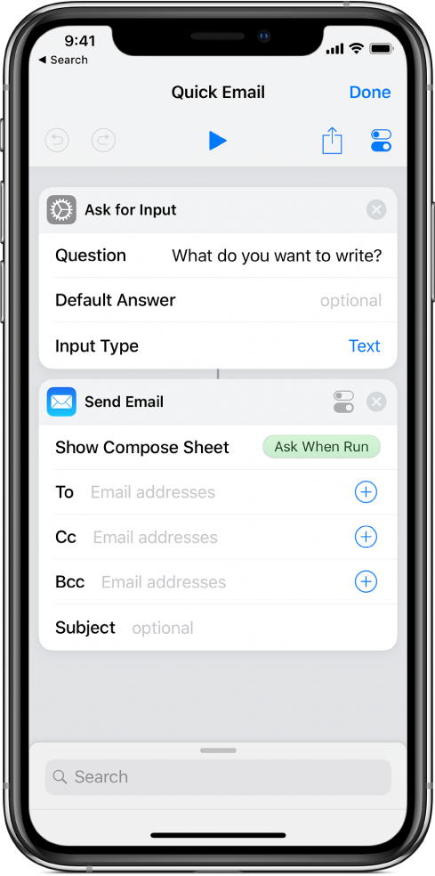 Ask When Run variable token in the Show Compose Sheet field of the Send Email action.