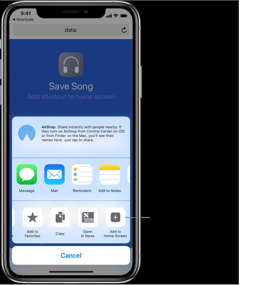 Add to Home Screen button displayed in Safari.