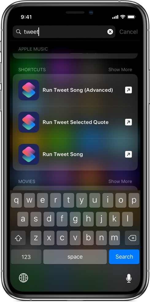 """iOS search for the shortcut keyword """"tweet,"""" and the results of the search: the Tweet Song (Advanced) shortcut, Tweet Selected Quote shortcut, and Tweet Song shortcut."""