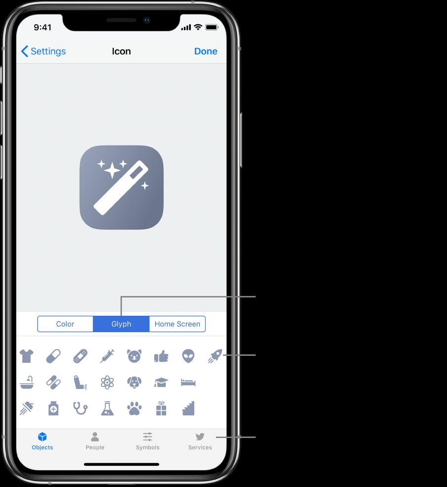 La pantalla Ícono mostrando las opciones de glifo de los atajos.