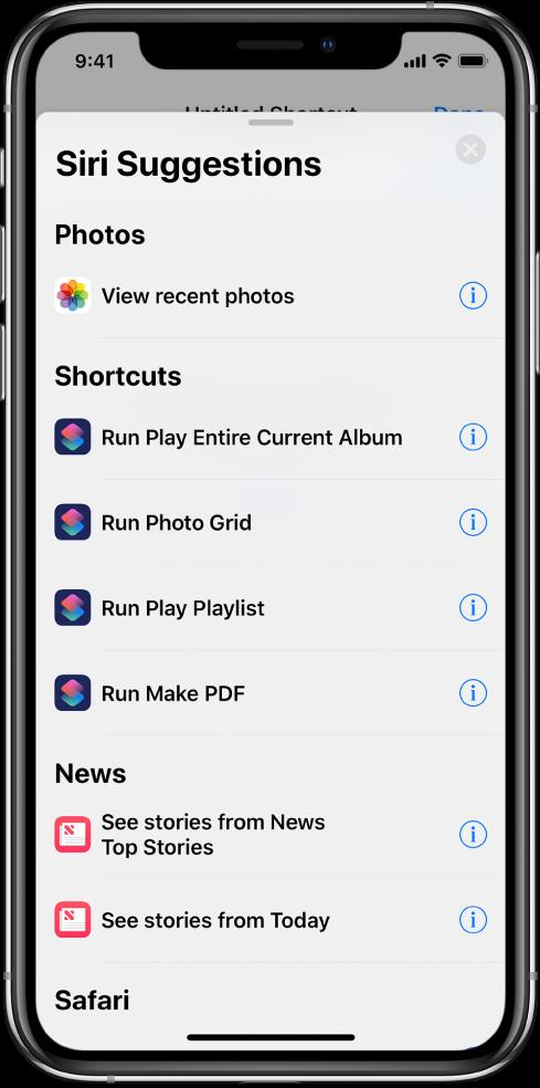 La lista Sugerencias de Siri.