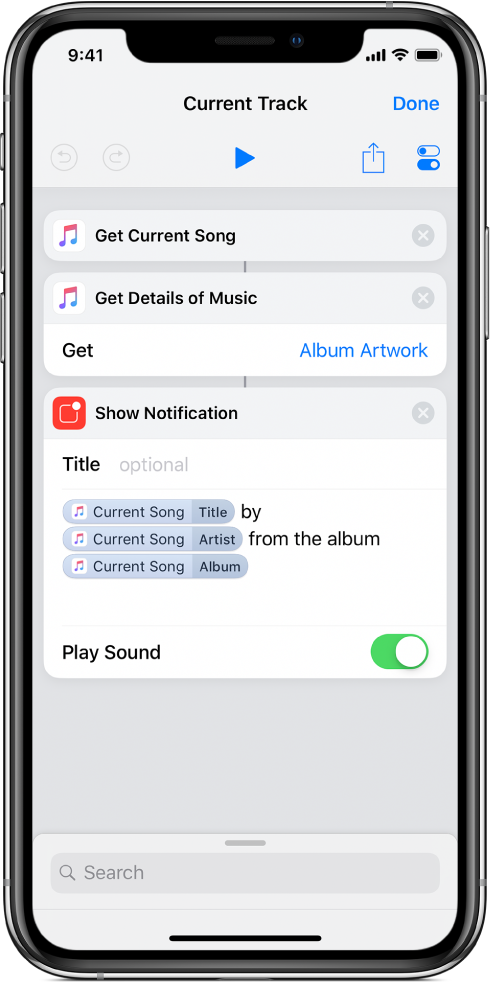 """La acción """"Mostrar notificación"""" en el editor de atajos y la alerta """"Ahora suena de iTunes"""", invocada por la acción """"Mostrar notificación"""""""