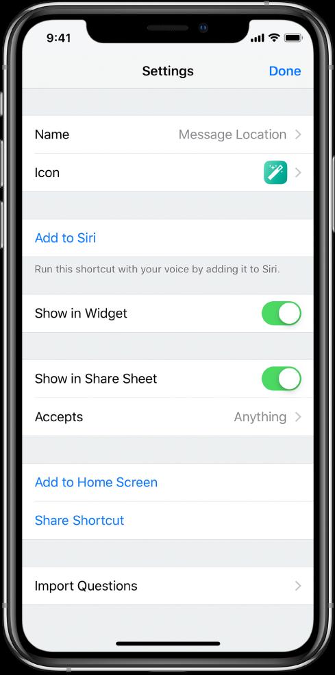 """El editor de atajos con la opción """"Mostrar en hoja de compartir"""" activada"""
