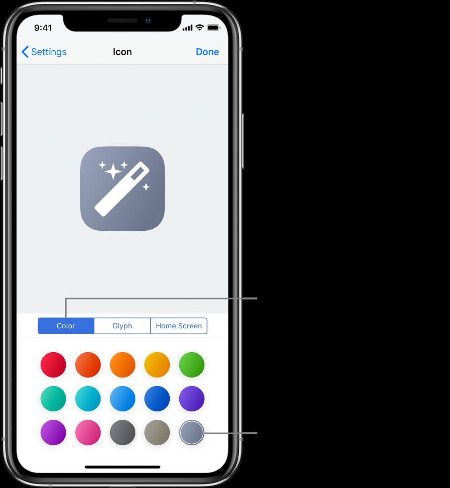La pantalla Ícono mostrando las opciones de color de los atajos.