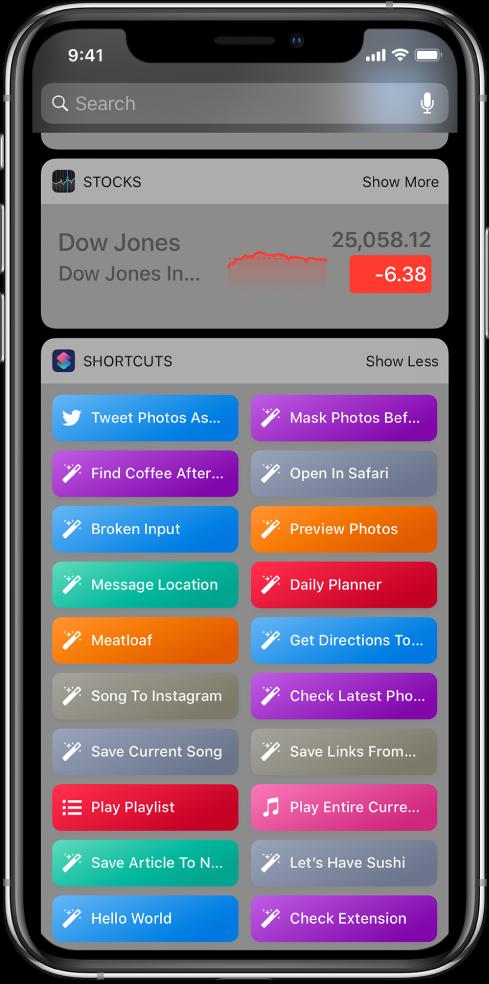 Widget Raccourcis dans l'affichage du jour sur l'iPhone.